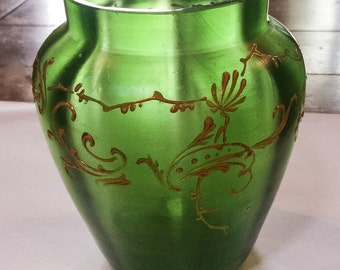 French Art Deco Vase, Green Translucent Glass, Gilt Swirl Overlay, SUMMER SALE