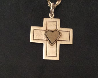 Sterling Silver Heart Cross, 1950s Mid Century Vintage Religious Jewelry, Mexico, SUMMER SALE