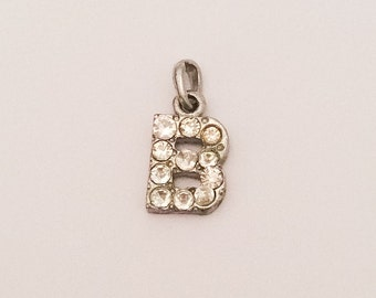 Initial B Pendant, Charm, Rhinestone, Silver Tone, 1960s Vintage Jewelry, SUMMER Sale