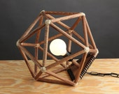 Handmade Modern Wooden Geometric Icosahedron Lighting Hanging Pendant or Table Lamp Home Decor