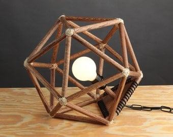 Handmade Modern Wooden Geometric Icosahedron Lighting Hanging Pendant or Table Lamp Home Decor