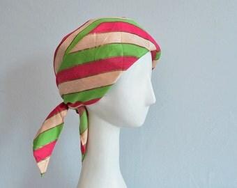 Vintage 60s Silk Hat / 1960s Mod Silk Stripe Scarf Tie Turban / Pink Green Metallic I Magnin