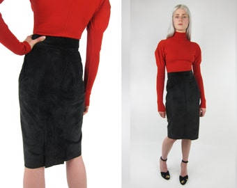 1990's AZZEDINE ALAIA back suede skirt with pleated hemline