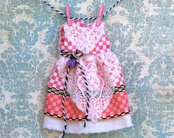 Blythe Dress Pink Checkerboard Vintage Lace