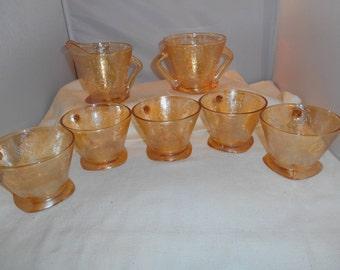 Jeanette Glass Vintage Foragold Tea Set