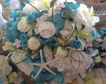 Deluxe Driftwood and Seashell Turquoise and White Hydrangea and Orchid Beach Bridal Bouquet with Starfish