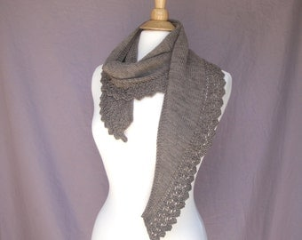 Brown Scarf with Lace, Organic Merino Wool, Hand Knit, Shawlette, Unusual Scarf, Luxury Natural Fiber