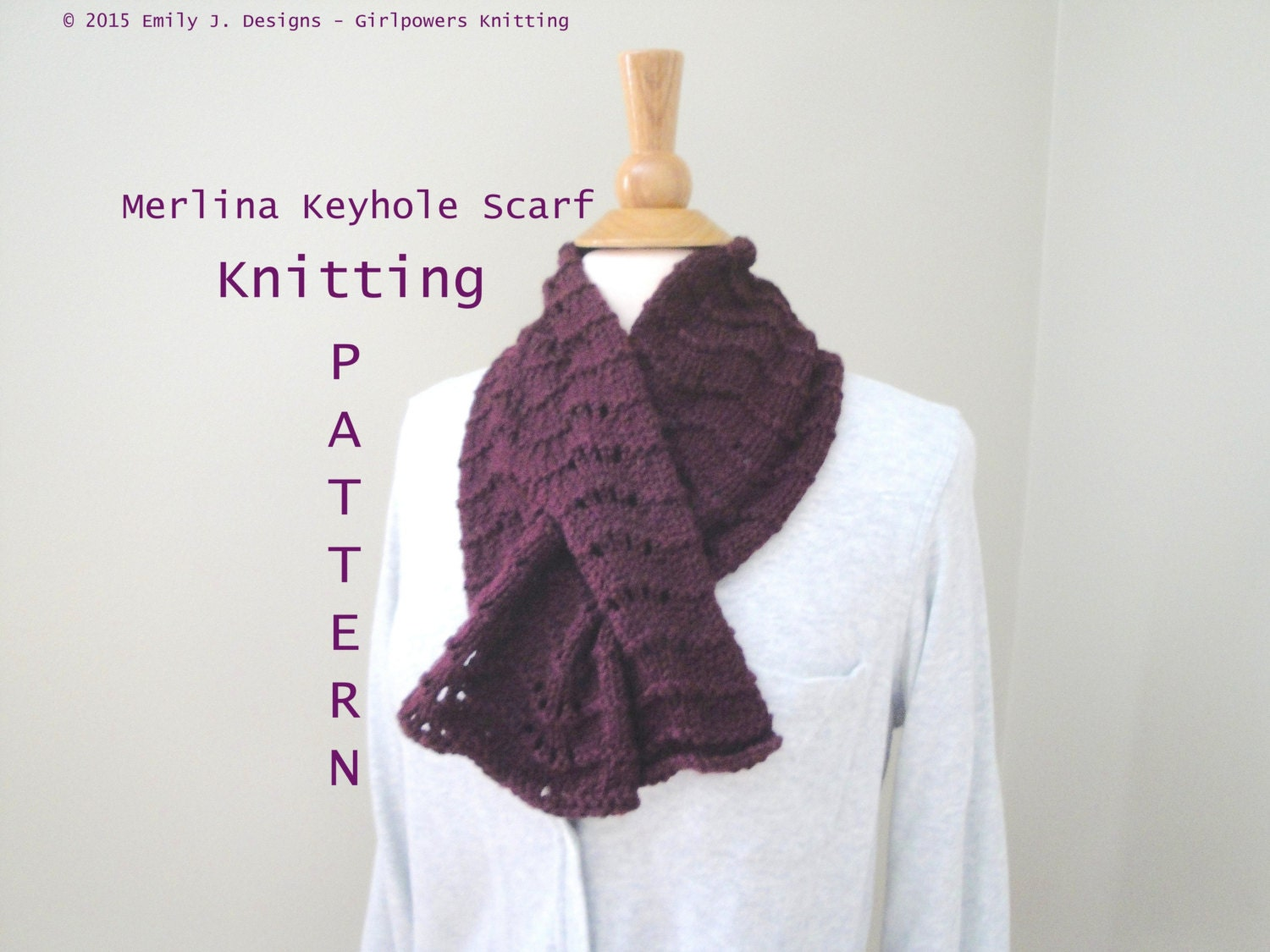 Lace Keyhole Scarf Knitting Pattern : Merlina Keyhole Scarf Knitting Pattern Pull Though Neck