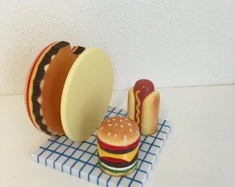 Salt and Pepper Set, Napkin Holder, Picnic Set, Hot Dog, Hamburger