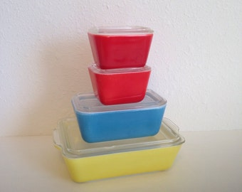 Vintage Pyrex, Primary Refrigerator Dish Set, Vintage Pyrex Fridges, Red Pyrex, Yellow Pyrex, Blue Pyrex, Pyrex with Lids