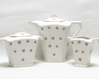 Art Deco Teaset, Art Deco Teapot, Art Deco Milk Jug, Art Deco Sugar Bowl, Collectable Tea set, Porcelain Tea set, French Tea Set,