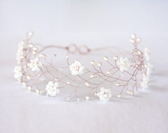 32_Rose gold hair accessories, Flower rose gold hair crown, Flower crown, Wedding hair accessories, Wedding crown, Bridal hair accessory