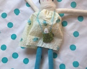 Handmade doll made with corduroy, 100% cotton, vintage crepe, alpaca scarf, handstitched face.
