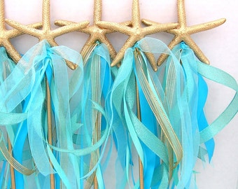 Little MERMAID, Starfish WAND, Ribbon Wand, Under the Sea party, Mermaid Party, Party FAVOR