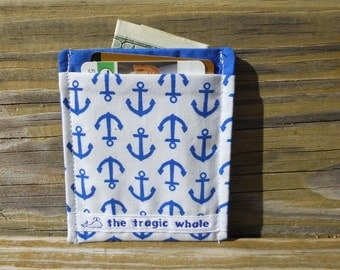 Card Sleeve, Minimalist Wallet, Anchor Wallet, Nautical Wallet, Blue and White Wallet, One of a Kind