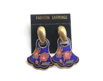Vintage Blue Floral Cloisonne Earrings