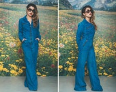 Vintage 70s BLUE Denim Jumpsuit Bell Bottom FLARE Zip Up INDIGO Jumper Coveralls Coverups Long Sleeve Size Small