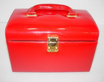SALE - Women's Vintage Red Patent Leather Vinyl Make - Up Or Toiletries Case, Overnight Case