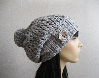 Crochet Beanie - Marble Gray Tweed Slouchy Beanie - Beanie Hat - Crochet Slouchy Beanie -Winter Hats -Crochet Beanie Hat -Crocheted Beanies