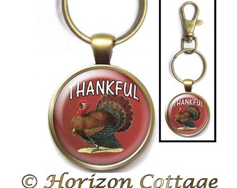 Thankful Purse Clip, Happy Thanksgiving, Thanksgiving Key Ring, Turkey Bag Clip, Thanksgiving Key Chain, Gift for Host, Hostess Gift