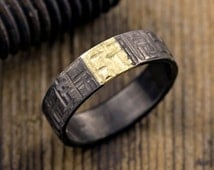 6mm Textured Mens Wedding Ring, 14k Yellow Gold and Rhodium Plated Sterling Silver