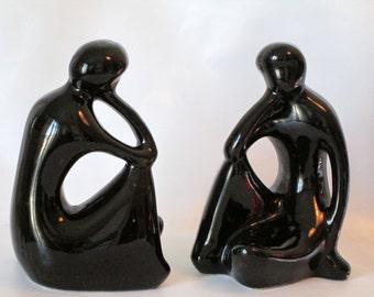Pair of Mod Black Ceramic Sculptures of The Thinker.