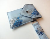 Recycled 3-Pocket Necktie Wristlet Wallet Light Blue Floral