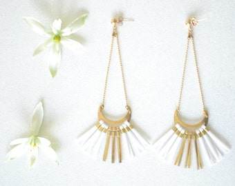 """Pendant fringe earrings, Bridal, Wedding, White and Gold, Half Moon gold plated 24 k stud high quality """"Lunes"""""""