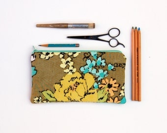pencil pouch, fall floral bag, pouch with retro design, back to school gift, college gift, unique gift for her, greenbugmarketplace