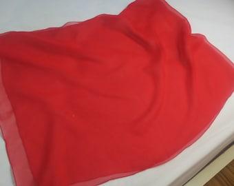 "100 % Silk  Scarf by De Mura Bright  Red 16"" x 44"""