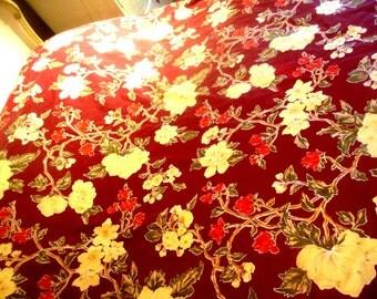 """DUVET ... Vintage Duvet Cover Bright Burgundy w Flowers 100 % Cotton 94"""" x 88"""" A   King"""