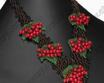 Traditional Ukrainian Jewelry  Beads Beaded Necklace Large Red Guelder Rose 3D