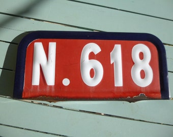Vintage French Route Number Road Street Sign Red White and Blue Enamel
