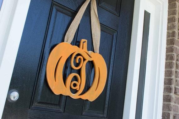 Wood Pumpkin Monogram Door Hanger, Fall Door Decor, Fall Door Monogram, Halloween, Thanksgiving