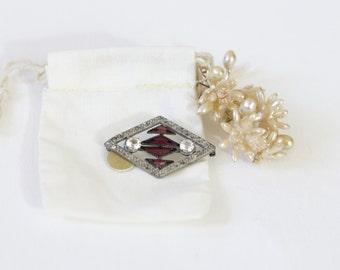 Antique Amethyst Brooch. / 1920's Rhinestone Brooch. Silver tone.