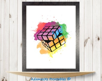 Rubik's cube printable, paint splatter watercolor print, Hungarian cube poster, Rainbow print, Office home prints, colors Printable wall art