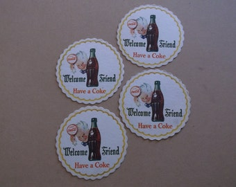 "Vintage 1950's Coca Cola Coasters,Set of 4 ""Welcome Friend"""