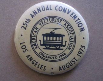 "Vintage 1975 ""American Vecturist Association"" 25th Annual Convention Mirror/Button"