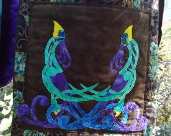 Celtic Peacock Purse / Quilted Peacock / Fantasy Art / Hand Made