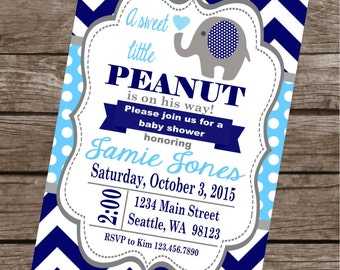 "SWEET ELEPHANT ""It's a Boy"" Baby Shower Invitations Set of 12 {1 Dozen} Navy Blue Grey - Party Packs Available"