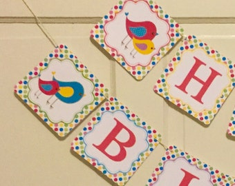 POLKADOT BIRDIE Happy Birthday Party Banner - Party Packs Available