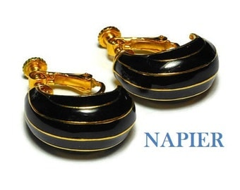 Napier black earrings, 1980s black and gold enamel screw back earrings, gold stripes on black, half hoop