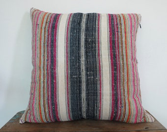 Hemp ,20x20, Vintage Textile Decorative Cushion cover, Tradition Ethnic fabric from Thailand