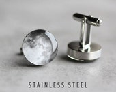 Moon cufflinks Mens cufflinks Surgical steel cuff link Space cufflinks Planet cufflinks Wedding cufflinks gift for dad gift for him