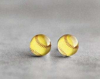 Softball post earrings, Surgical steel stud, Sport earring studs, womens earrings, gift for her, sport ball earrings