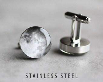 Moon cufflinks Mens cufflinks Surgical steel cuff link Space cufflinks Planet cufflinks Wedding cufflinks gift for dad gift for him