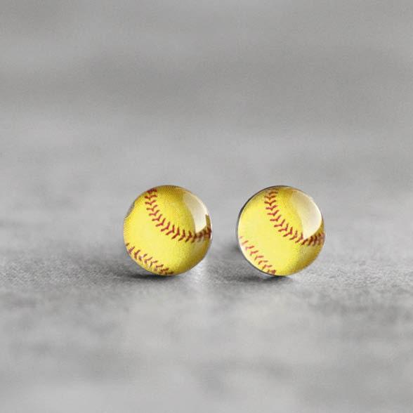 softball post earrings surgical steel stud sport earring