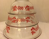 Vintage Glass Set of Pyrex Bowls With Retro Cherries Design/ Hard To Find