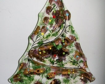 Vintage Christmas Tree Candy Condiment Dish Midcentury Holiday Ceramic Glazed Gold Gilt Beads