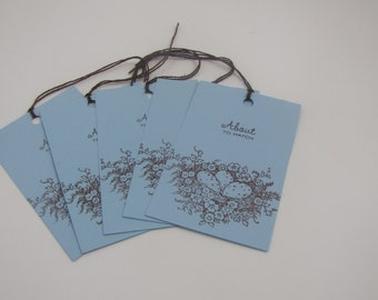 About to Hatch Blue Baby Tags set of 10 Baby Shower Scrapbooking Favors Gift Tags
